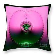 Pink Topaz And Emerald Green Necklace Fractal Throw Pillow