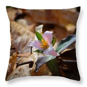 Pink Trillium In Lost Valley Throw Pillow