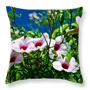 Pink Trumpet Flowers In Pilgrim Place In Claremont-california Throw Pillow
