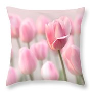 Pink Tulip Cloud Throw Pillow