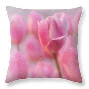 Pink Tulip Crowd Throw Pillow