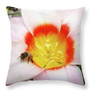 Pink Tulip Flower Orange Art Prints Honey Bee Baslee Troutman Throw Pillow