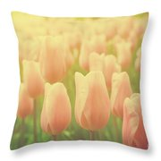 Pink Tulip Flowers In The Garden On Sunny Day In Spring Throw Pillow
