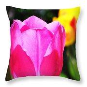 Pink Tulip In Sunlight Throw Pillow