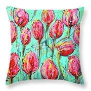 Pink Tulip, Turquoise Throw Pillow