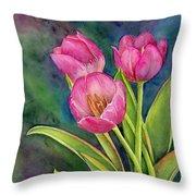 Pink Tulip Twist Throw Pillow