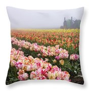 Pink Tulips And Tractor Throw Pillow