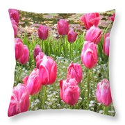 Pink Tulips By Peaceful Pond Throw Pillow
