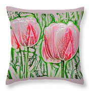 Pink Tulips With Block Effect Throw Pillow