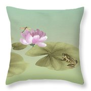 Pink Water Lily And Frog Throw Pillow