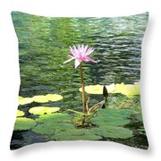 Pink Water Lily Pad Throw Pillow