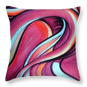 Pink Wave Of Energy. Abstract Vision Throw Pillow