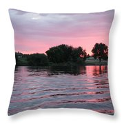 Pink Waves Sunset Throw Pillow