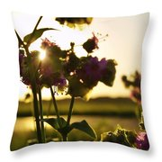 Pink Wildflower Sunset I Throw Pillow