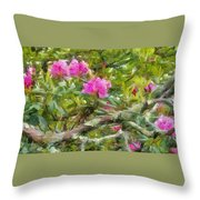 Pink With Lichen Throw Pillow
