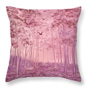 Pink Woods Throw Pillow