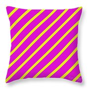 Pink Yellow Angled Stripes Throw Pillow