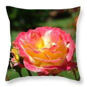 Pink Yellow Roses 3 Summer Rose Garden Giclee Art Prints Baslee Troutman Throw Pillow