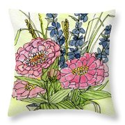 Pink Zinneas Throw Pillow