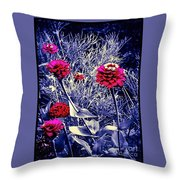 Pink Zinnia's Against A Silver Background Throw Pillow