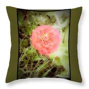 Pinkish Orange Zinnia On Green Background Throw Pillow