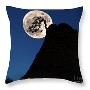 Pinon Pine And Moon Zion National Park  Throw Pillow