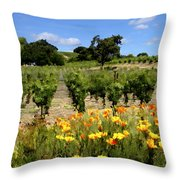 Pinot Noir And Poppies Throw Pillow