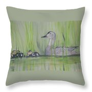 Pintails In The Reeds Throw Pillow