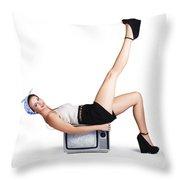 Pinup Girl Balancing On Television Set Throw Pillow
