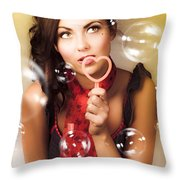 Pinup Girl Blowing Love Kiss. American Retro Style Throw Pillow
