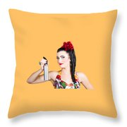 Pinup Woman Holding A Cleaning Spray Bottle Throw Pillow