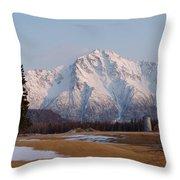 Pioneer Peak Alaska Throw Pillow