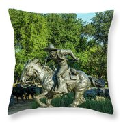 Pioneer Plaza Cattle Drive Monument Dallas Throw Pillow