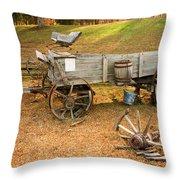 Pioneer Wagon And Broken Wheel Throw Pillow