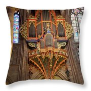 Pipe Organ In Strasbourg Cathedral Throw Pillow