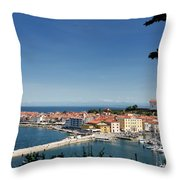 Piran Slovenia Gulf Of Trieste On The Adriatic Sea From The Punt Throw Pillow
