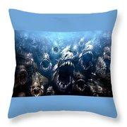 Piranha 3d Throw Pillow