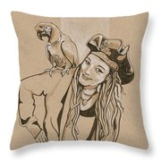 Pirate And Parrot Throw Pillow