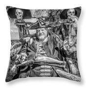 Pirate Captain And Parrots Black And White Throw Pillow