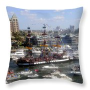 Pirate Ship And Flotilla Throw Pillow