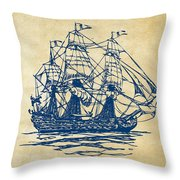 Pirate Ship Artwork - Vintage Throw Pillow