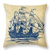 Pirate Ship Artwork - Vintage Throw Pillow by Nikki Marie Smith