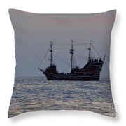 Pirate Ship At Clearwater Throw Pillow