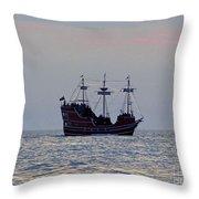 Pirate Ship At Sunset Throw Pillow