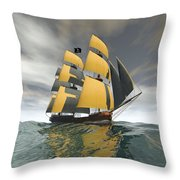 Pirate Ship On The High Seas Throw Pillow