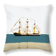 Pirate Ship On The Horizon Throw Pillow