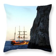 Pirate Ship Sunset Sea Of Cortez Cabo Throw Pillow