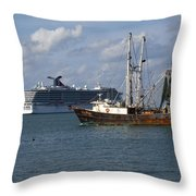 Pirate's Pride In Port Canaveral Throw Pillow