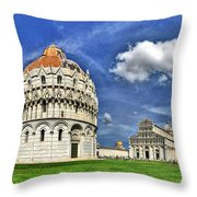 Pisa - Baptistry Duomo And Leaning Tower Throw Pillow