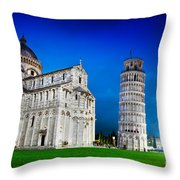 Pisa Cathedral With The Leaning Tower Of Pisa, Tuscany, Italy At Night Throw Pillow